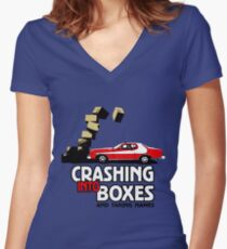 Crashing Into Boxes and Taking Names Women's Fitted V-Neck T-Shirt