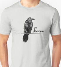 Nie mehr Rabe mit Zitat | Edgar Allan Poe Abbildung Unisex T-Shirt