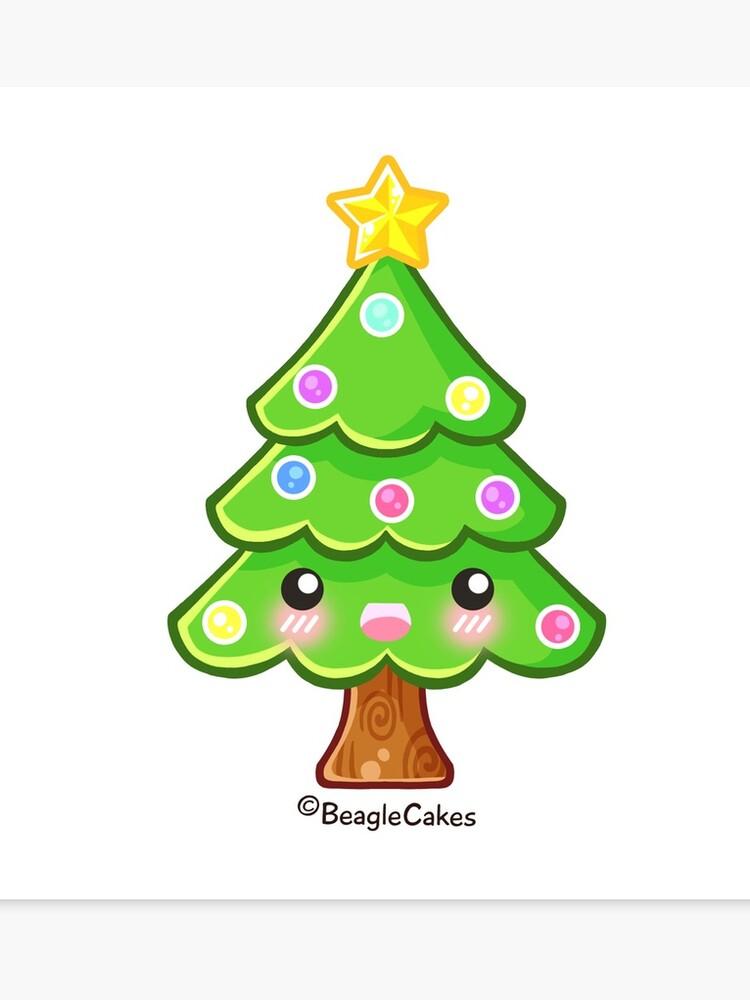 Kawaii Christmas.Kawaii Christmas Tree Canvas Print