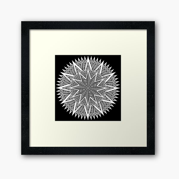 Monochrome Mandala Framed Art Print