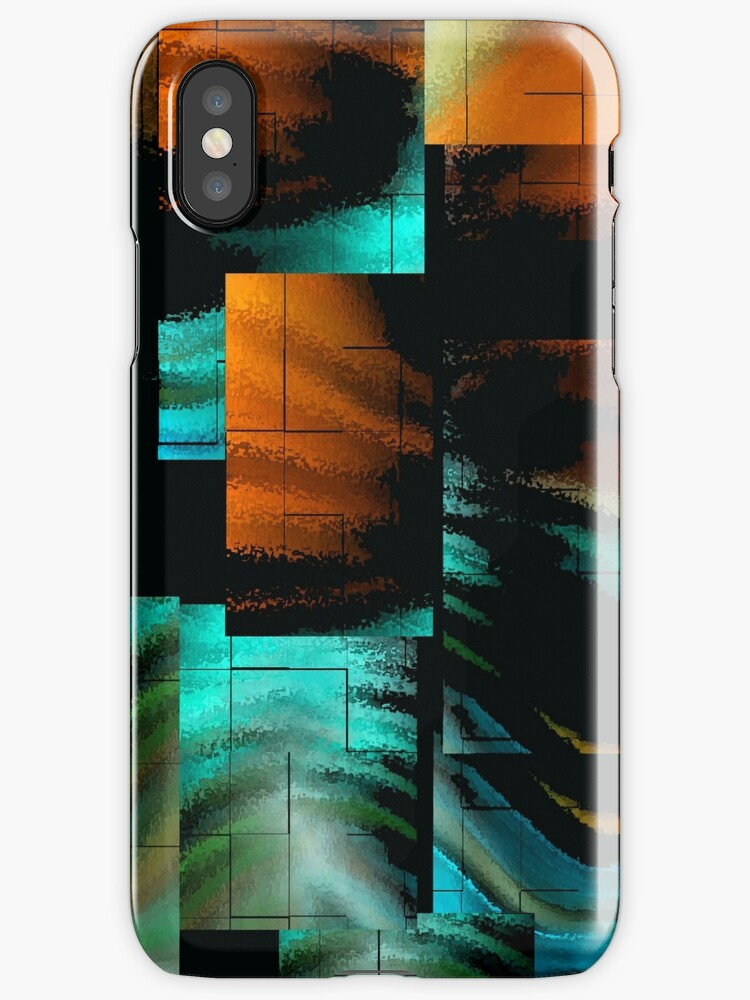 iPhone Case of painting.. Downtown.. by linmarie