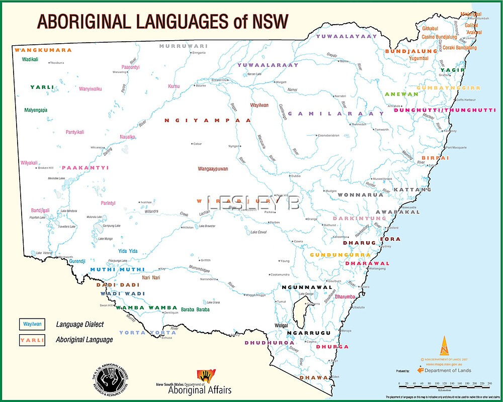 NSW Aboriginal Language Map by LESLEY BUtler