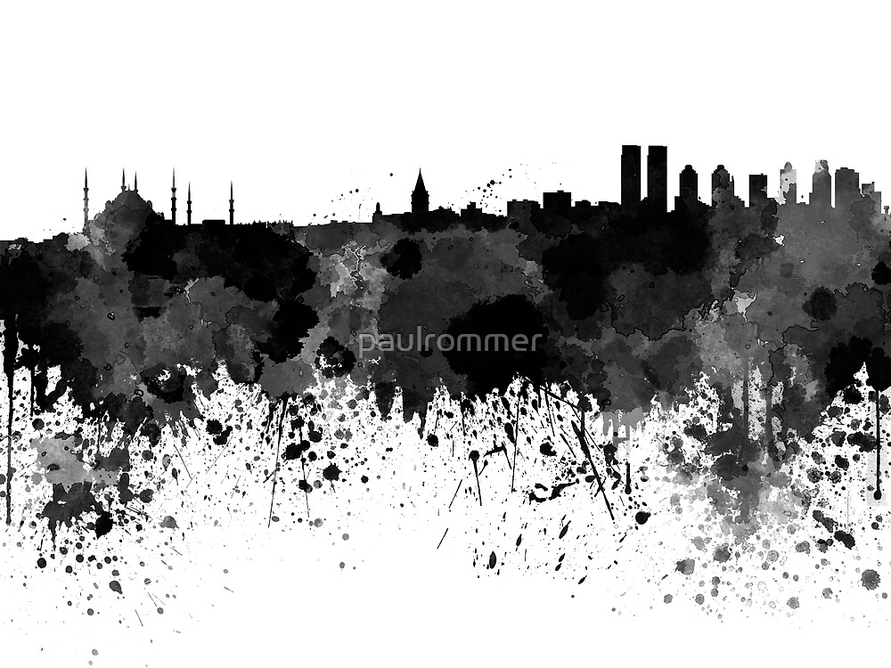 Istanbul skyline in black watercolor by paulrommer