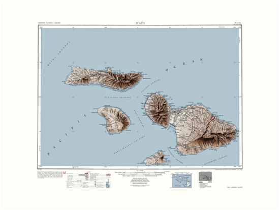 Vintage Map of Maui Hawaii by parmarmedia