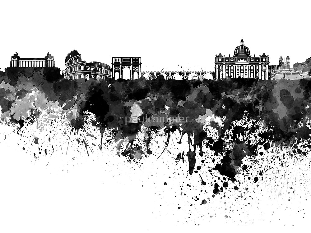 Rome skyline in black watercolor by paulrommer