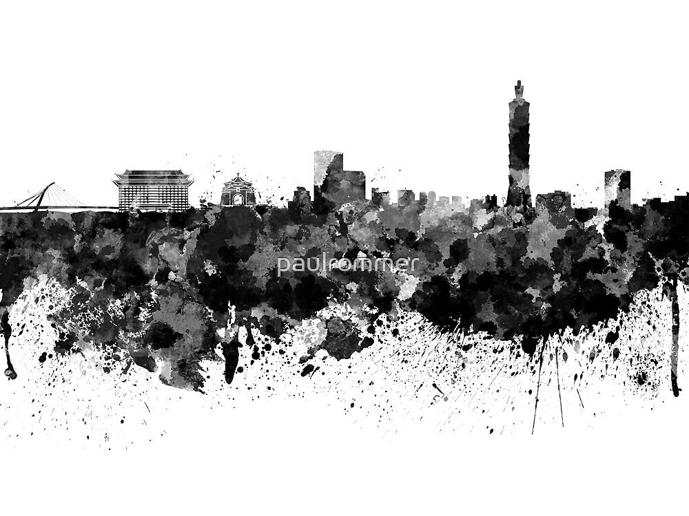 Taipei skyline in black watercolor by paulrommer