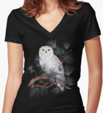 Snowy Women's Fitted V-Neck T-Shirt