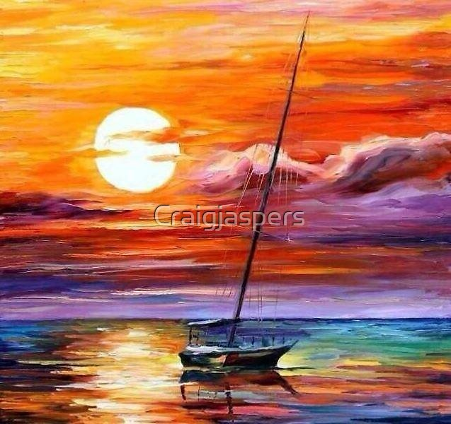 Sailing Away in the Colourful Sunset Sea  by Craigjaspers
