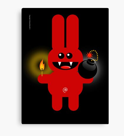 RABBIT 4  (Cute pet has a bomb and its alight!) Canvas Print