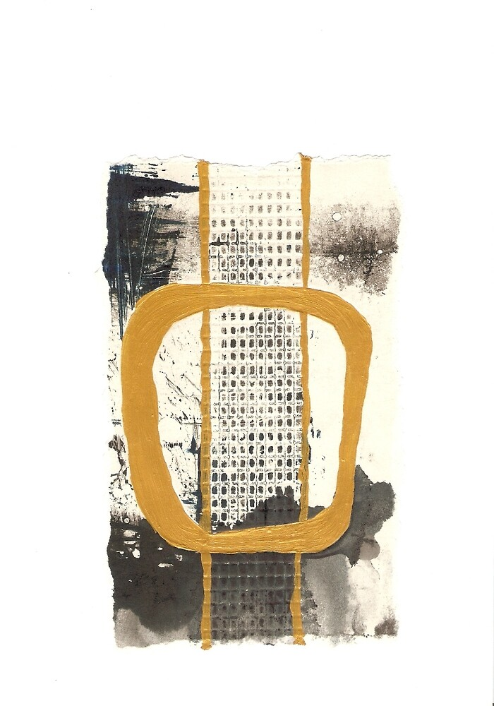 Abstract gold accents monoprint by Alexandra Romancsak