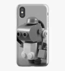 lego robot - black and white iPhone Case