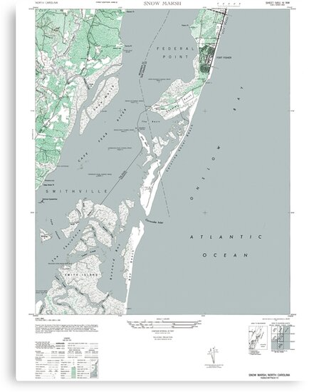 Vintage Map of Kure Beach and Fort Fisher North Carolina by parmarmedia