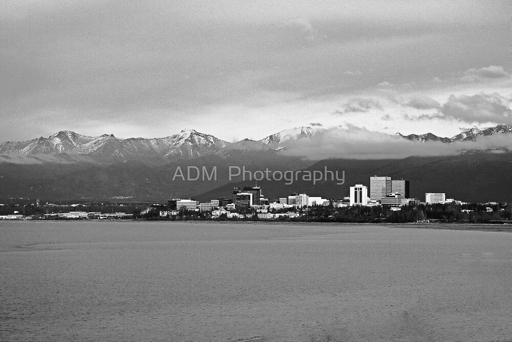 B/W City of Anchorage, Alaska by Amber D Hathaway Photography
