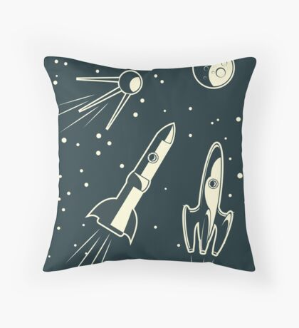 retro cpace card Throw Pillow