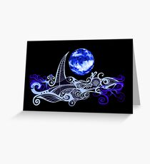 Card - Lunar Sailing - Ultramarine Greeting Card
