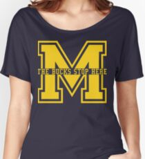 M - The Bucks Stop Here - Maize Women's Relaxed Fit T-Shirt