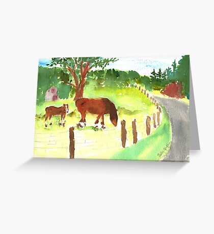 Mare and Colt at The Shire Stables Greeting Card