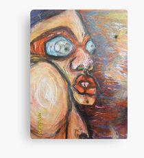acryl en waskrijt op hout Canvas Print