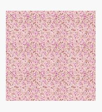 Chic vintage pink brown retro flowers pattern Photographic Print