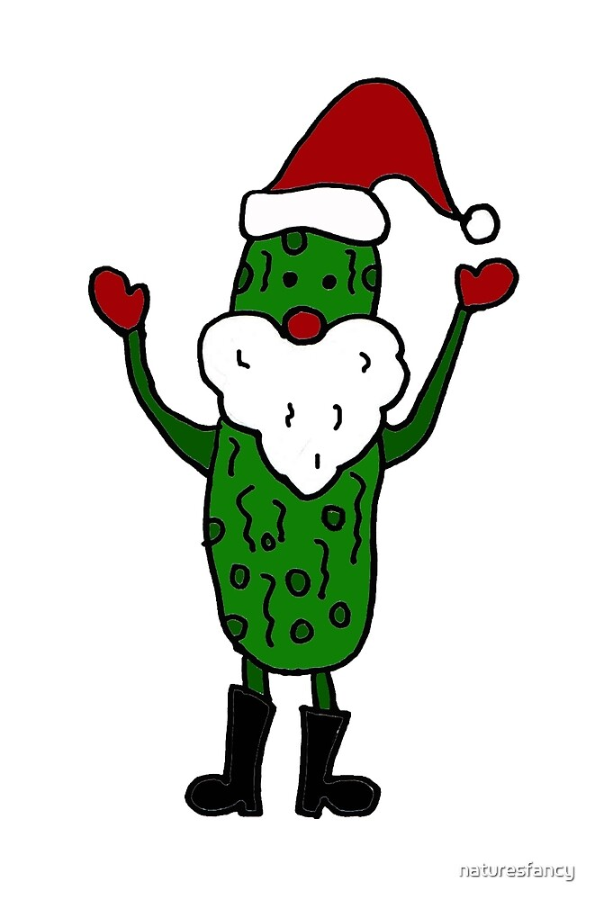 Funny Cool Pickle Santa Claus ChristmasArt by naturesfancy