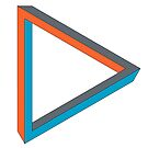 Impossible triangle in blue, orange and gray. by cesarpadilla