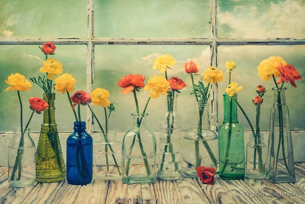 Ranunculus, Bottles and Window Floral Still Life by Virginia Sanderson