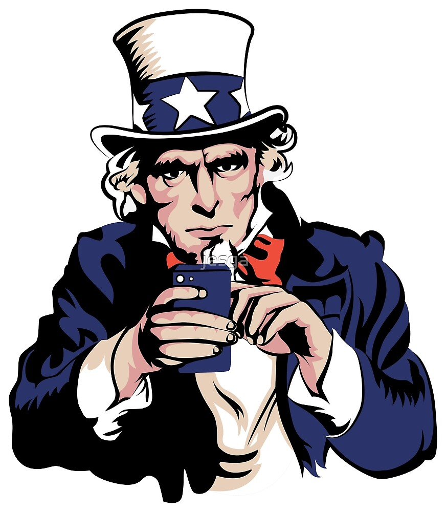 Uncle Sam With Smartphone by jesga