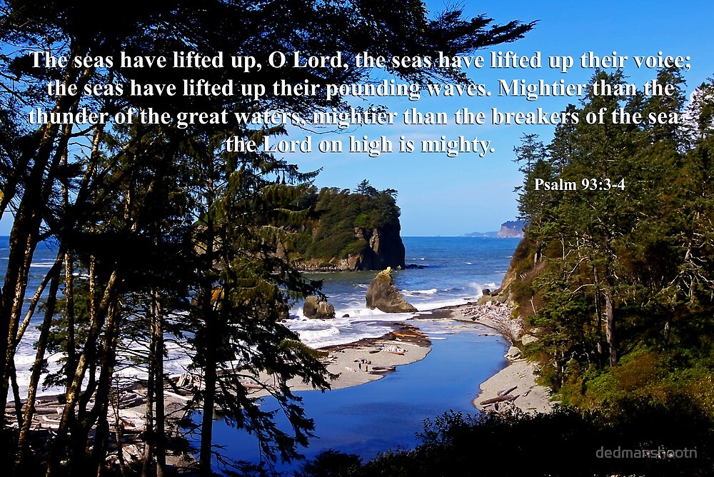 awesome ocean shore with psalm 93:3-4 by dedmanshootn