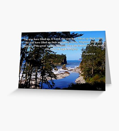 awesome ocean shore with psalm 93:3-4 Greeting Card