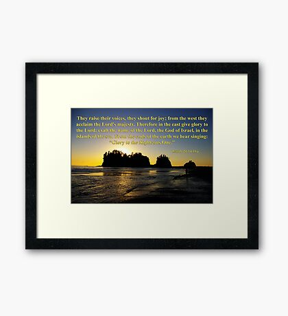 james island sunset with isaiah 24:14-16 Framed Print