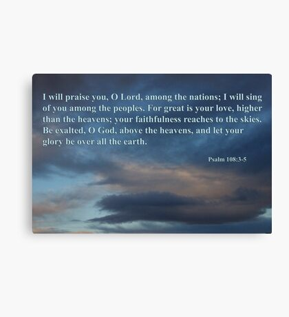dawn sky with psalm 108 3-5 Canvas Print