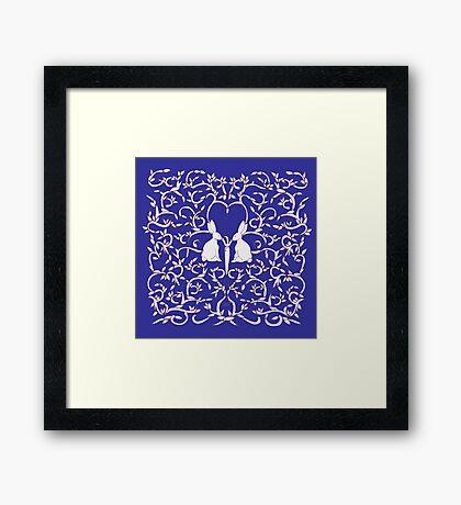 Royal Blue Rabbits Filigree Leaves Framed Print