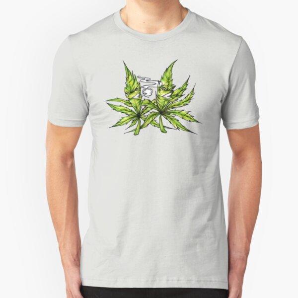 Best Buds Cannabis Friends Weed BFF Smoking Hemp Slim Fit T-Shirt