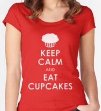 Keep Calm eat Cupcakes Women's Fitted Scoop T-Shirt