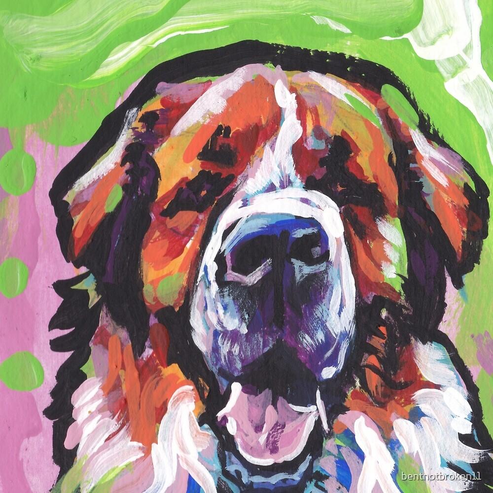 Saint St. Bernard Bright colorful pop dog art by bentnotbroken11