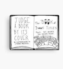 Funny Book Titles book cover cartoon Canvas Print