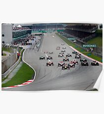 Opening Lap at the 2011 Malaysian Grand Prix Poster