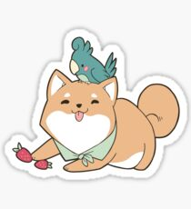 Shiba Inu Birb Best Friends Sticker Sticker
