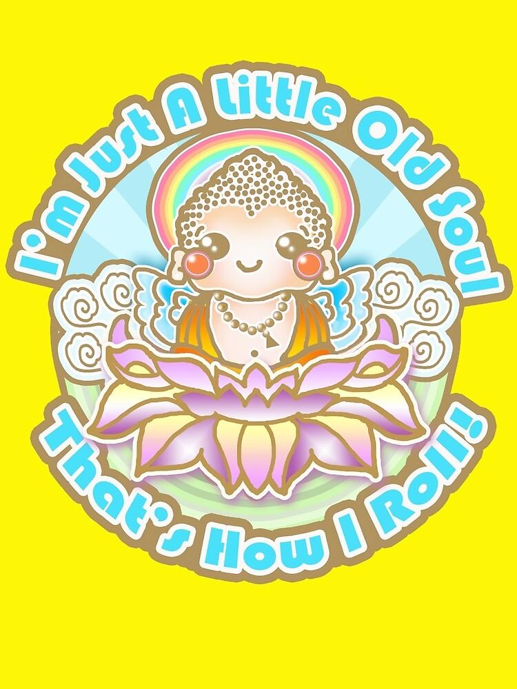 Kawaii Style Baby Buddha on Lotus Flower -  by floppypoppygift