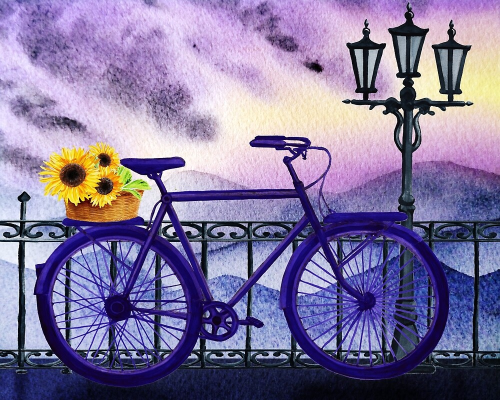 Bicycle With Basket And Sunflowers by Irina Sztukowski