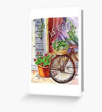 French Cafe And Bicycle With Basket Greeting Card