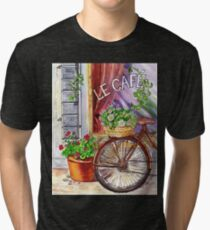 French Cafe And Bicycle With Basket Tri-blend T-Shirt