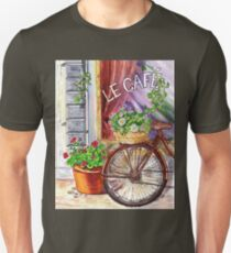 French Cafe And Bicycle With Basket T-Shirt