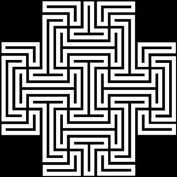 Geometric Maze Pattern Swastika - White by thomasb139