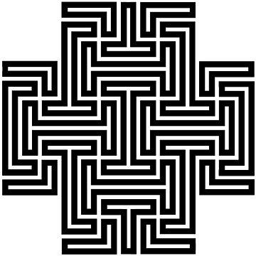 Geometric Maze Pattern Swastika - Black by thomasb139