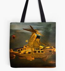 """The Osprey"" - A  Golden Steam Powered Flying Gunship Tote Bag"