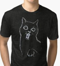 Cat Sketch White Tri-blend T-Shirt
