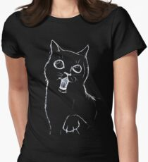 Cat Sketch White Womens Fitted T-Shirt