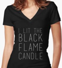 Black Flame Candle (White) Women's Fitted V-Neck T-Shirt