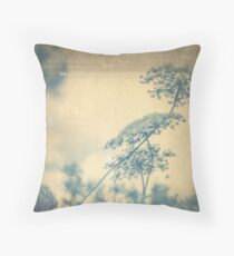 Chinoiserie Queen Anne's Lace Blue Throw Pillow